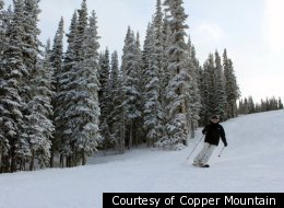 Skiers tackle one of the many trails at Copper Mountain.