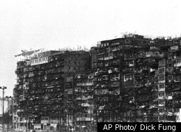Kowloon Walled City in Hong Kong was a seven acre slum where brothels and opium dens once thrived until it was torn down in 1987.