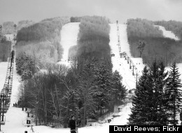 A view of a few of the tree-lined trails at Windham Mountain in upstate New York.