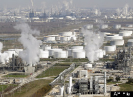 In this Nov. 10, 2010 file photo, oil refineries are shown in this aerial view, in Deer Park, Texas. (AP Photo/David J. Phillip, File)