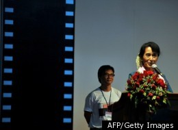 Myanmar democracy icon Aung San Suu Kyi speaks at the opening ceremony of