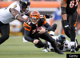 CINCINNATI, OH - JANUARY 01: Andy Dalton #14 of the Cincinnati Bengals runs with the ball during the NFL game against the Baltimore Ravens at Paul Brown Stadium on January 1, 2012 in Cincinnati, Ohio. (Photo by Andy Lyons/Getty Images)