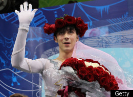 VANCOUVER, BC - FEBRUARY 18: Johnny Weir of the United States waves in the kiss and cry area in the men's figure skating free skating on day 7 of the Vancouver 2010 Winter Olympics at the Pacific Coliseum on February 18, 2010 in Vancouver, Canada. (Photo by Matthew Stockman/Getty Images)
