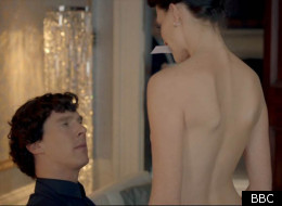 Benedict Cumberbatch is given the whipping treatment by Lara Pulver as Irene Adler in 'Sherlock'