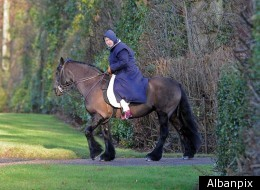 Queen Elizabeth II took her horse and groom out for a new year's ride