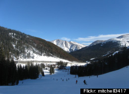 Skiers take in the beautiful views at Loveland Ski Area.