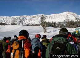 Skiers and snowboarders prepare to tackle the fresh powder at Bridger Bowl.