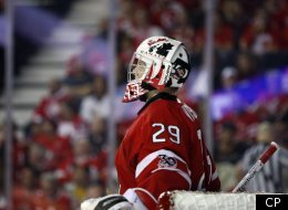 Team Canada's goalie Mark Visentin, from Waterdown, Ont., looks to the scoreboard after Russia scored during third period IIHF World Junior Championships semi-final hockey action in Calgary, Alta., Tuesday, Jan. 3, 2012.