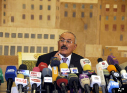 In this Dec. 24, 2011 file photo, Yemen's President Ali Abdullah Saleh speaks during a news conference at the Presidential Palace in Sanaa, Yemen. (AP Photo/Mohammed Hamoud, File)
