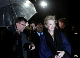 Meryl Streep braved the London weather for the UK premiere of 'The Iron Lady'