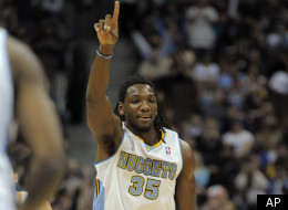 Denver Nuggets forward Kenneth Faried celebrates during the fourth quarter of an NBA basketball game against the Sacramento Kings, Wednesday, Jan. 4, 2012, in Denver. Denver beat Sacramento 110-83. (AP Photo/Jack Dempsey)