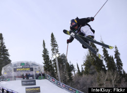 A skier catches some big air during the 2011 Winter Dew Tour at Snowbasin Resort.