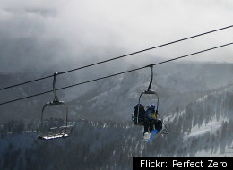 Skiers are ferried up by one of 28 lifts at Mammoth Mountain.
