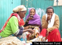 A group of women drinking coffee in Chaffee Jenette, a remote village in the eastern highlands of Ethiopia, where the Abyssinian Baptist Church in Harlem is helping coffee farmers grow better crops.