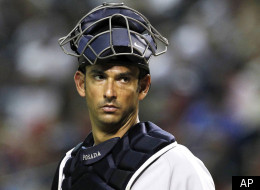 FILE - In this June 21, 2010, file photo, New York Yankees' Jorge Posada watches a foul ball during their baseball game against the Arizona Diamondbacks in Phoenix. Yankees manager Joe Girardi revealed Wednesday, Sept. 8, 2010, that Posada felt post-concussion symptoms on Tuesday after getting hit by a foul ball. The star catcher sat out Wednesday's game against the Baltimore Orioles and was sent to a neurologist for tests. His status for New York's upcoming road trip was uncertain. (AP Photo/Ro