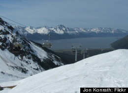 One of nine lifts that transport skiers and snowboarders up the mountain at Alyeska Resort.