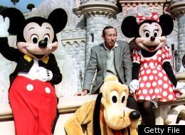 Pictured: Roy E. Disney with Mickey Mouse, Minnie Mouse and Goofy at Disneyland in a photo from 1992.