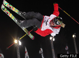 LA PLAGNE, FRANCE - MARCH 20: (FRANCE OUT) Sarah Burke of Canada takes 1st place during the FIS Freestyle World Cup Men's and Women's Halfpipe on March 20, 2011 in La Plagne, France. (Photo by Christophe Pallot/Agence Zoom/Getty Images)