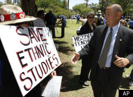 Arizona state Sen. Steve Gallardo, D-Phoenix, right, greets a supporter of the Tucson ethnic studies program,Virginia Gallegos, of Phoenix, Monday, May 9, 2011, at the Arizona Capitol, in Phoenix. About a dozen people joined Gallardo on Monday and held signs accusing the department of a policy of attacking Arizona Latinos after former school's chief Tom Horne declared the program a violation of state law and called for its elimination hours before his term ended and he became Arizona Attorney Ge
