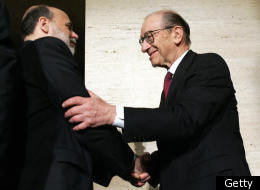 Retired Federal Reserve Chairman Alan Greenspan (R) shakes hands with Ben Bernanke (L) after Bernanke was sworn in as the 14th Federal Reserve Chairman at the Federal Reserve in Washington, DC, 06 February, 2006. Bernanke promised to do his best to carry out the central bank's mission of fighting inflation, fostering economic growth and nurturing a healthy jobs climate. (Getty)