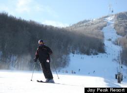 A skier decked out in black descends the Tramside peak at Jay Peak Resort.