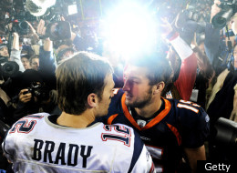 DENVER, CO - DECEMBER 18: Quarterback Tim Tebow #15 of the Denver Broncos and quarterback Tom Brady #12 of the New England Patriots shake hands after an NFL game at Sports Authority Field at Mile High on December 18, 2011 in Denver, Colorado. The New England Patriots won, 41-23. (Photo by Patrick Smith/Getty Images)