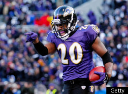 BALTIMORE, MD - JANUARY 15: Ed Reed #20 of the Baltimore Ravens celebrates his interception against Andre Johnson #80 of the Houston Texans (not pictured) during the fourth quarter of the AFC Divisional playoff game at M&T Bank Stadium on January 15, 2012 in Baltimore, Maryland. (Photo by Rob Carr/Getty Images)