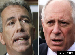 U.S. Rep Joe Walsh (left) slammed Illinois Gov. Pat Quinn (right) during a Tea Party event in Darien, Ill. on Jan. 12.