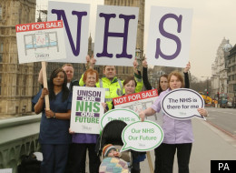 Nurses, midwives and health workers demonstrate against the government's health bill