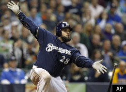 Milwaukee Brewers' Prince Fielder watches his RBI single during the sixth inning of a baseball game against the Pittsburgh Pirates Monday, Sept. 26, 2011, in Milwaukee. (AP Photo/Jeffrey Phelps)