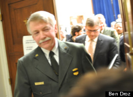 Jonathan Jarvis, director of the National Parks Service, leaving Tuesday's Oversight Committee hearing on Occupy DC.