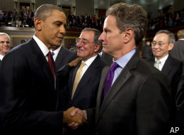 Treasury Secretary Timothy Geithner and President Barack Obama shake hands following the State of the Union address on January 24, 2012.