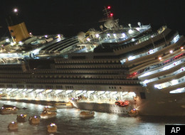 The first pictures have emerged showing the night the Costa Concordia ran aground off the island of Giglio
