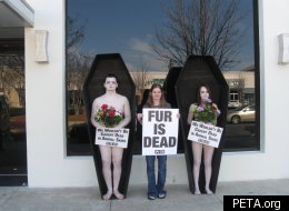 PETA protesters lying naked in coffins decorated with flowers and holding signs that read
