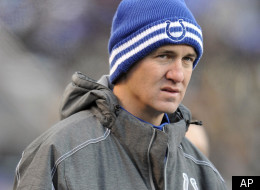 Indianapolis Colts quarterback Peyton Manning looks on in the second half of an NFL football game against the Baltimore Ravens in Baltimore, Sunday, Dec. 11, 2011. Baltimore won 24-10. (AP Photo/Gail Burton)