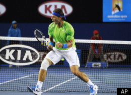 Rafael Nadal of Spain celebrates during his quarterfinal against Tomas Berdych of the Czech Republic at the Australian Open tennis championship, in Melbourne, Australia, Tuesday, Jan. 24, 2012. (AP Photo/Vivek Prakash,Pool)