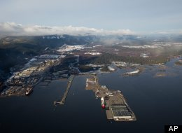This Jan. 10, 2012 photo shows the Douglas Channel, the proposed termination point for an oil pipeline in the Enbridge Northern Gateway Project at Kitamaat, British Columbia, Canada. Rio Tinto Alcans smelter is at left and the town of Kitamaat at upper right.