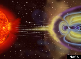 Artist's conception of Earth's magnetic field reacting to solar wind (NASA)