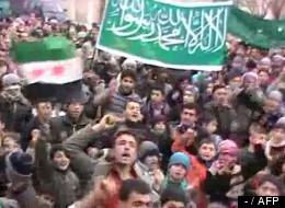 Une manifestation d'opposants syriens le 31 décembre à Maaret al-Noman dans la province d'Idlib