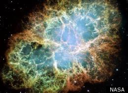 A Hubble Space Telescope picture of the Crab Nebula, a cloud of dust and gas left over from a supernova