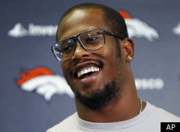 Denver Broncos first round draft pick Von Miller smiles as he responds to questions during a news conference at the team's football training facility in Englewood, Colo., on Tuesday, July 26, 2011, the day after the NFL lockout ended. (AP Photo/Ed Andrieski)