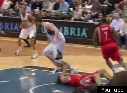 Did Kevin Love intentionally step on Luis Scola's face?