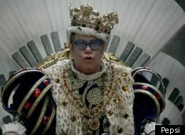 Elton John makes a Super Bowl commercial appearance.