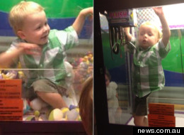 Noah Jeffrey climbed into an arcade game in a Ballarat restaurant, this weekend