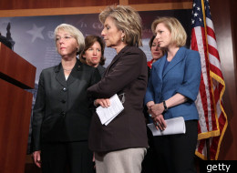 Sens. Patty Murray (D-Wash), Barbara Boxer (D-Calif.) and Kirstin Gillibrand (D-N.Y.) at a Capitol Hill press conference.