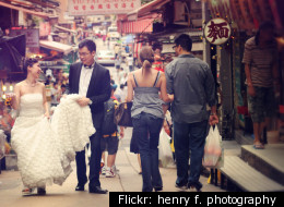 Newlyweds on the streets of Hong Kong.