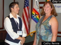 Charlie Morgan (left) and Karen Morgan at an October event for gays openly serving in the military.