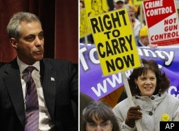 Chicago Mayor Rahm Emanuel (left) is expected on Thursday to call for a statewide gun registry. Though the mayor cannot introduce statewide legislation, his influence may sway lawmakers in Springfield.
