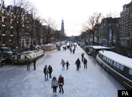 Get your skates on: Parts of Amsterdam's canal network have frozen over