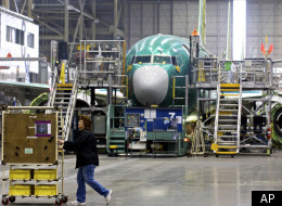 Pictured is one of two Boeing 737 production lines in Renton, Wash., Tuesday Jan. 10, 2012. Boeing celebrated ramping up the 737 production rate to 35 planes a month. In addition to other version of the 737, the next generation 737 Max will be built in Renton. (AP)